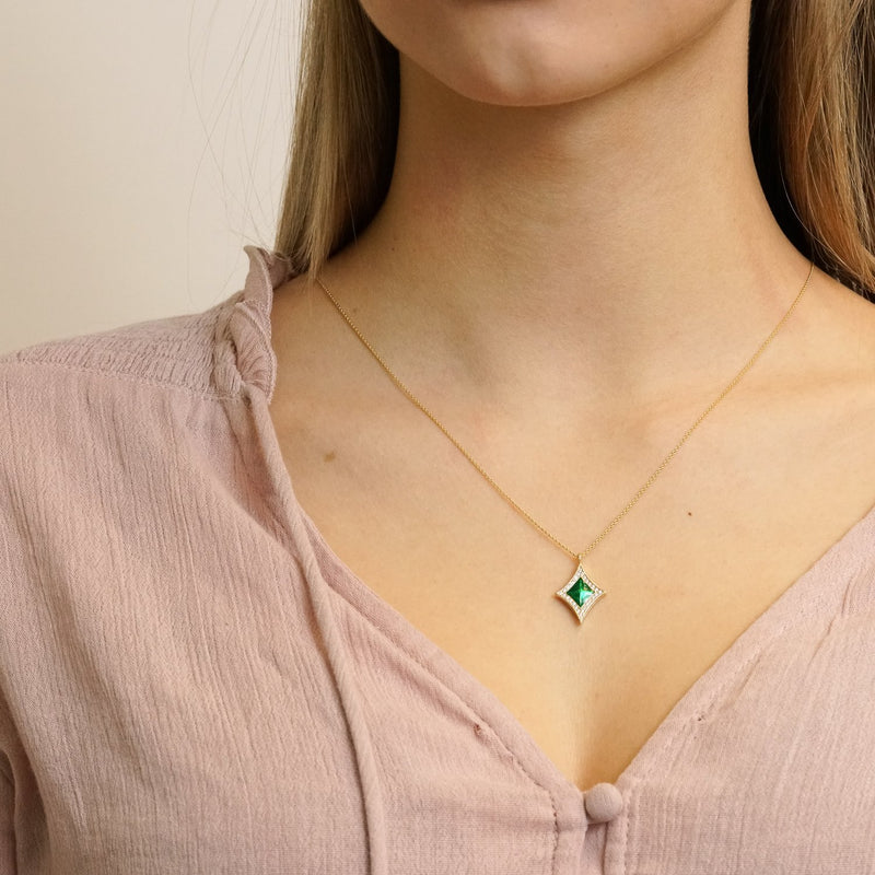 The Eldridge Necklace in Emerald Green On Model