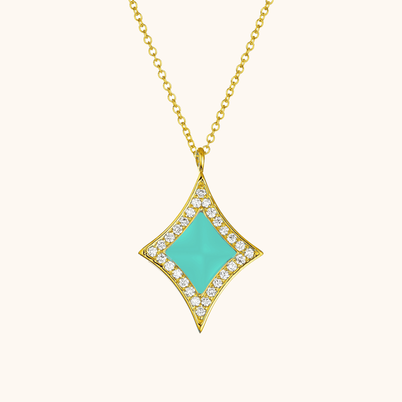 The Eldridge Necklace in Aqua, Yellow Gold