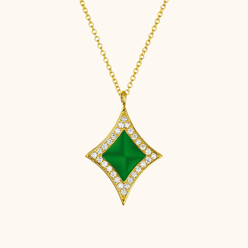 The Eldridge Necklace in Emerald Green, Yellow Gold
