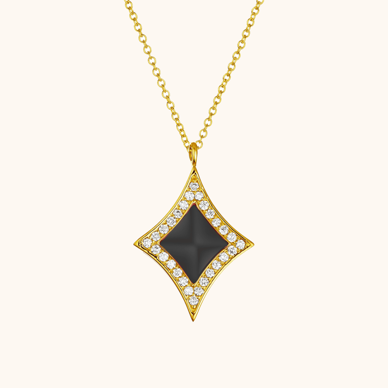 The Eldridge Necklace in Midnight Black, Yellow Gold
