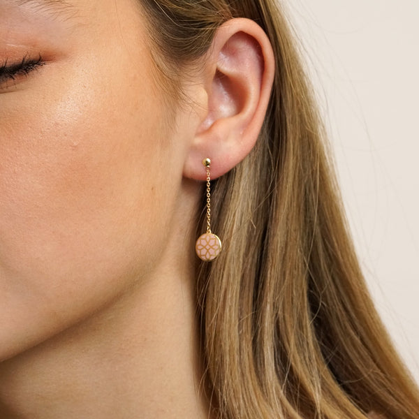 The Midtown Earrings in Blush Pink On Model