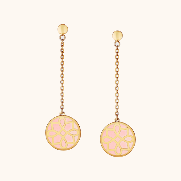 The Midtown Earrings in Blush Pink, Yellow Gold