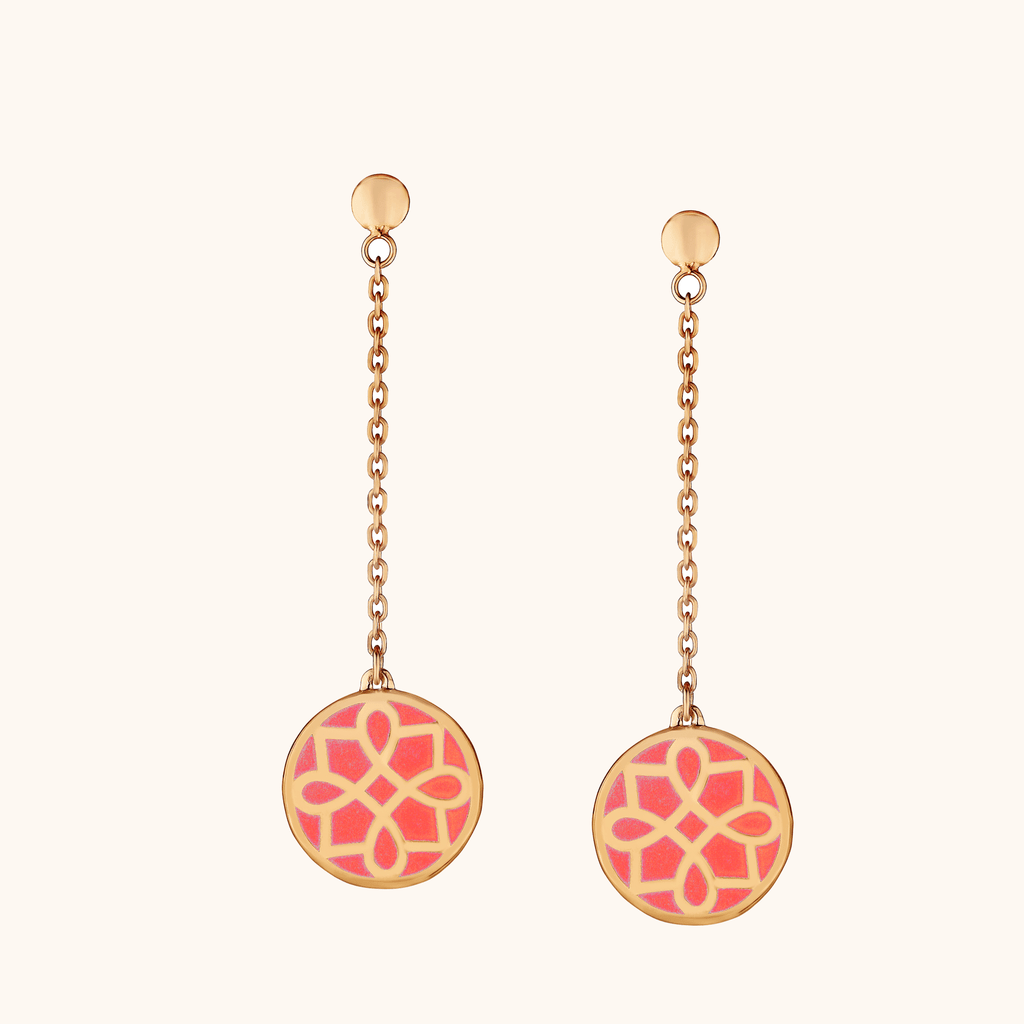 The Midtown Earrings in Coral, Yellow Gold