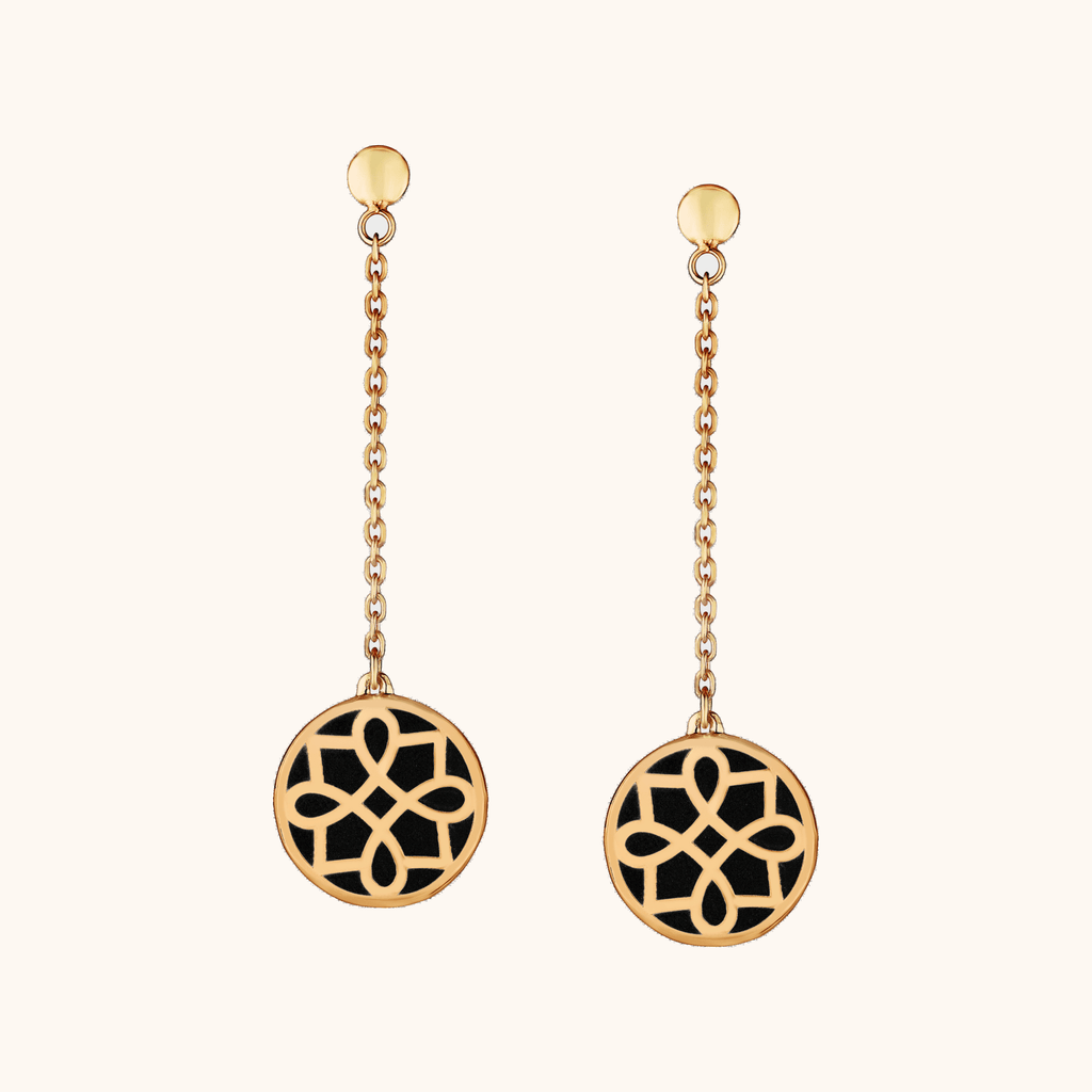 The Midtown Earrings in Midnight Black, Yellow Gold