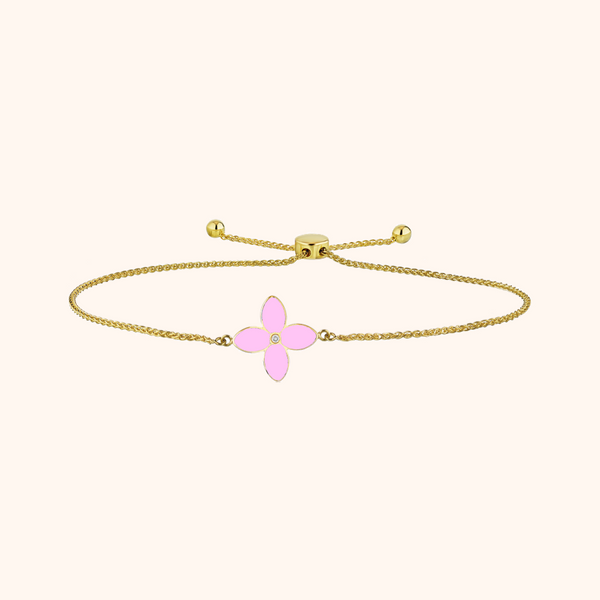 The Mulberry Bracelet in Baby Pink/Aqua, Yellow Gold