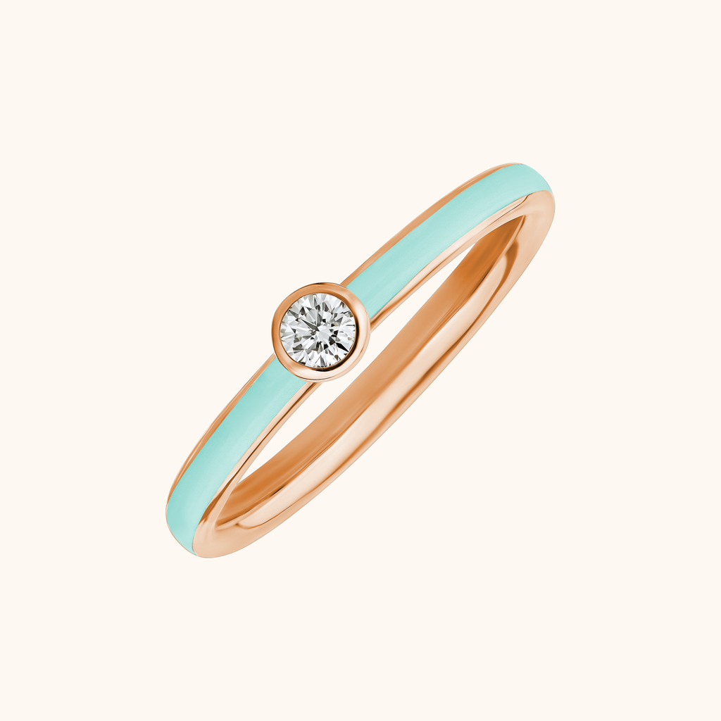 The Queen Band in Aqua, Rose Gold