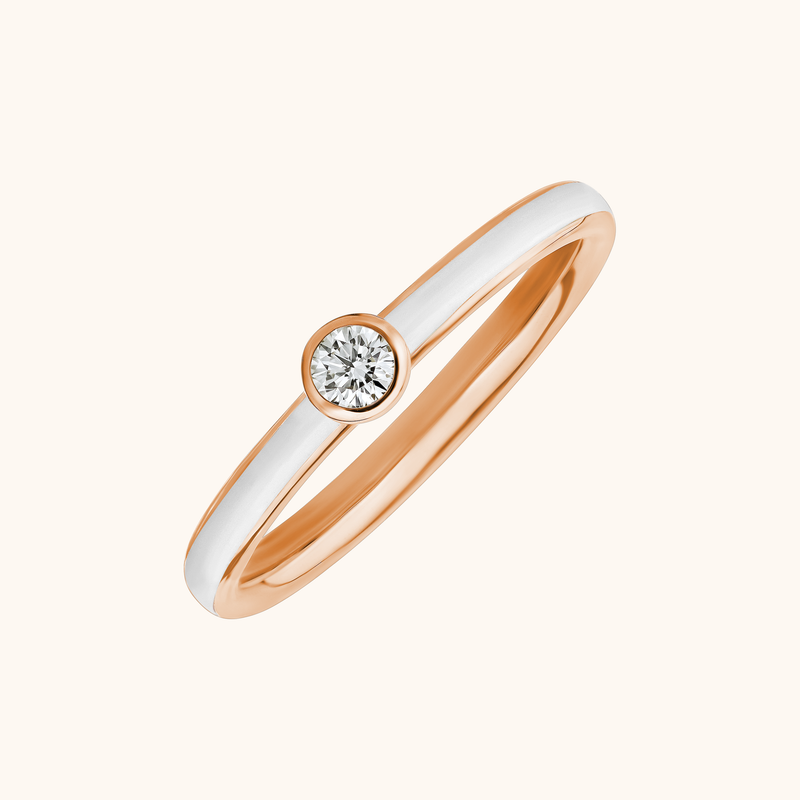 The Queen Band in Ivory White, Rose Gold