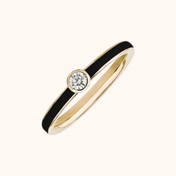 The Queen Band in Midnight Black, Yellow Gold