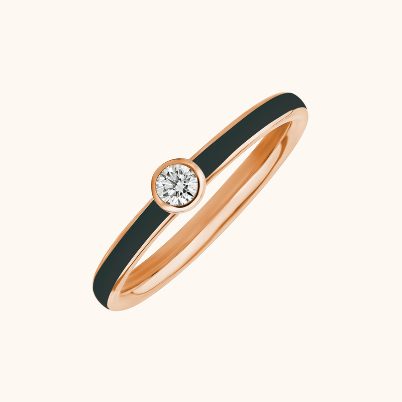 The Queen Band in Midnight Black, Rose Gold