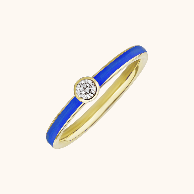 The Queen Band in Royal Blue, Yellow Gold