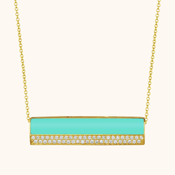 The Roxy Necklace in Aqua, Yellow Gold