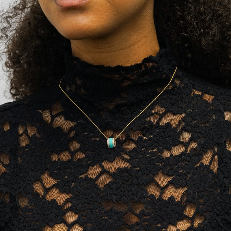 The Spring Necklace in Aqua, Yellow Gold on Model