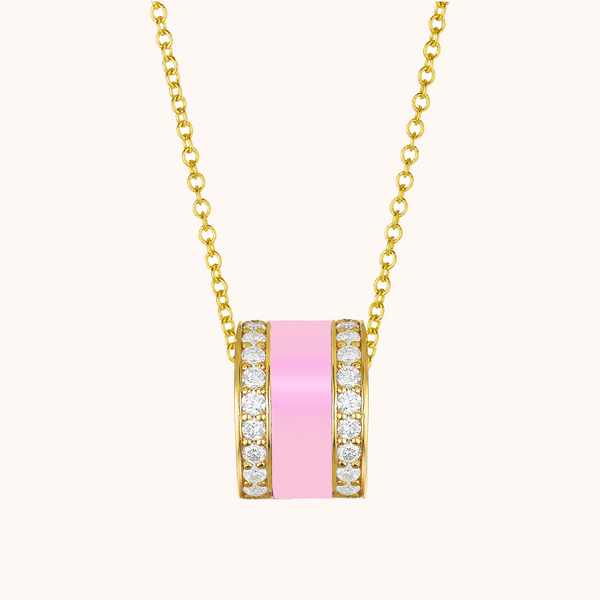 The Spring Necklace in Baby Pink, Yellow Gold