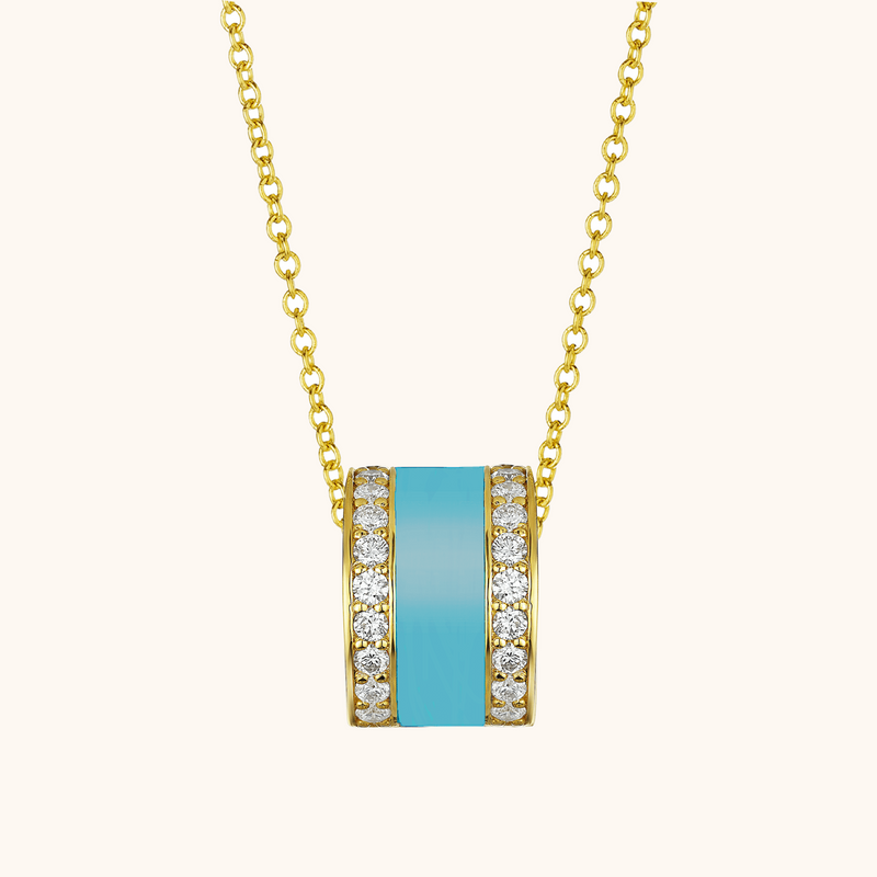 The Spring Necklace in Capri Blue, Yellow Gold