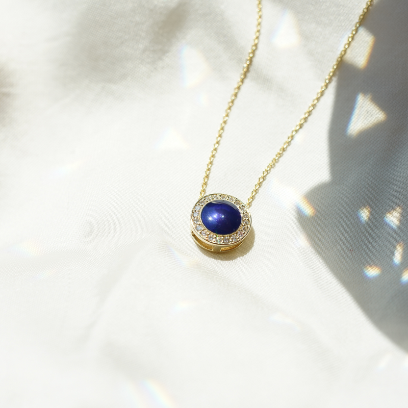 The Lafayette Necklace in Royal Blue, Yellow Gold