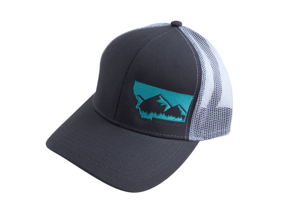 Grey with Aqua Snapback Mountain Hat