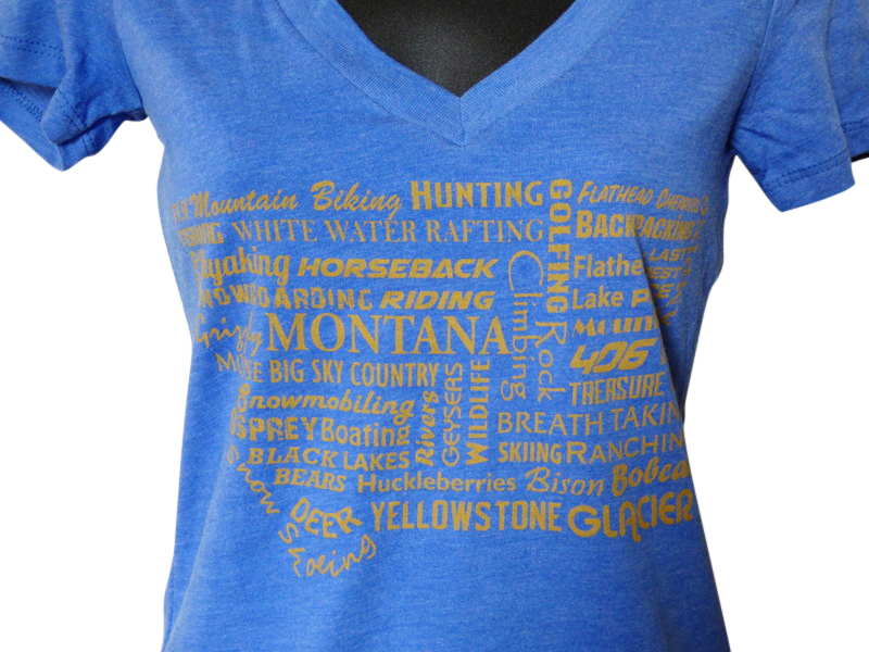 CLEARANCE Women's Blue Montana Word Shirt