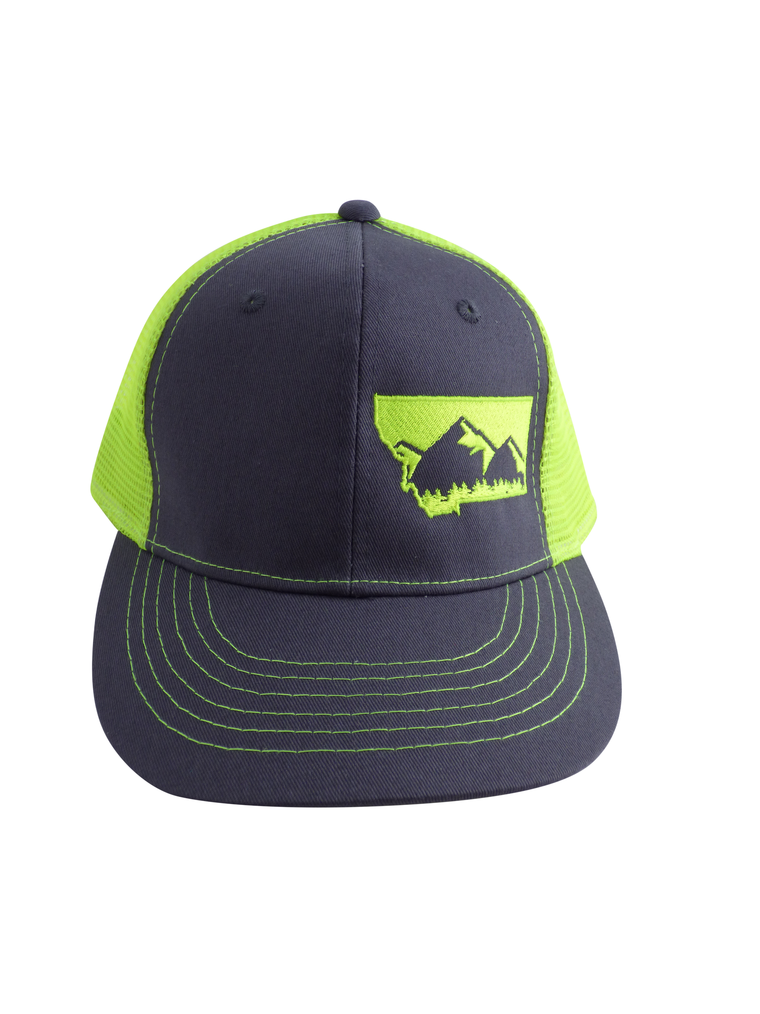 Neon Yellow and Charcoal Mountain Hat