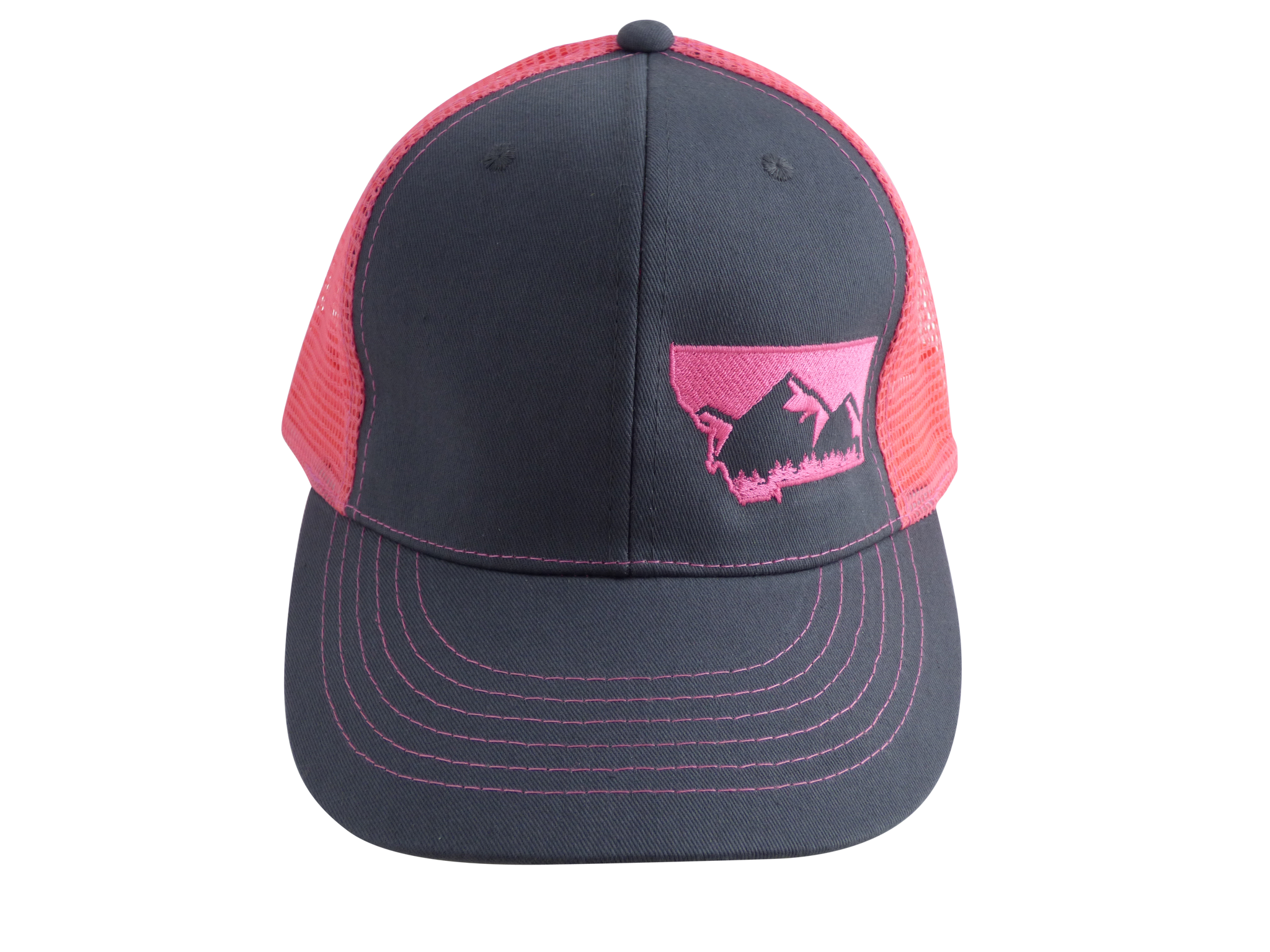 Charcoal and Pink Snapback Mountain Hat