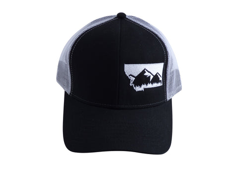 Black with White Snapback Mountain Hat