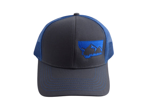 Charcoal with Cobalt Blue Snapback Mountain Hat