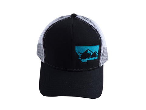 Black with Teal Snapback Mountain Hat