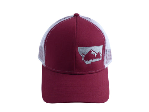 Maroon with Grey Snapback Mountain Hat