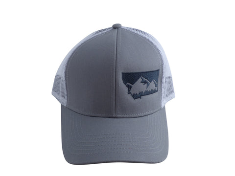 Grey with Charcoal Snapback Mountain Hat