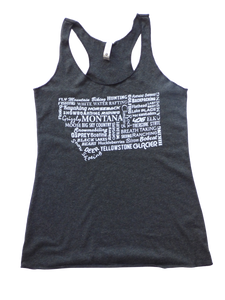 CLEARANCE Charcoal Montana Word Tank Top