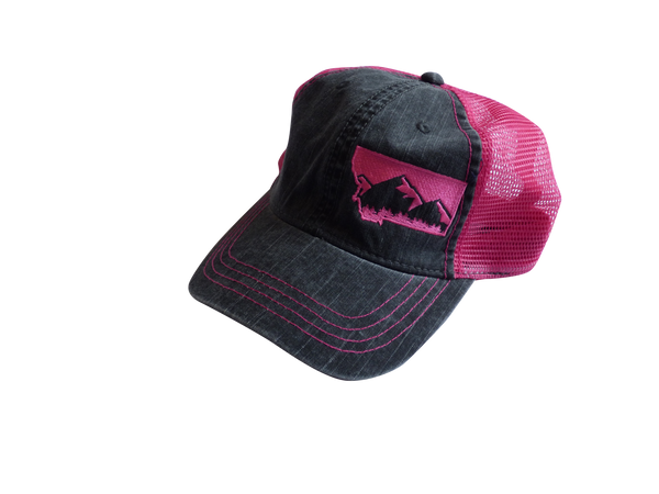 Soft Front Embroidered Mountain Hat Pink