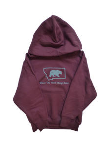 Youth Maroon and Grey Bear Hoodie