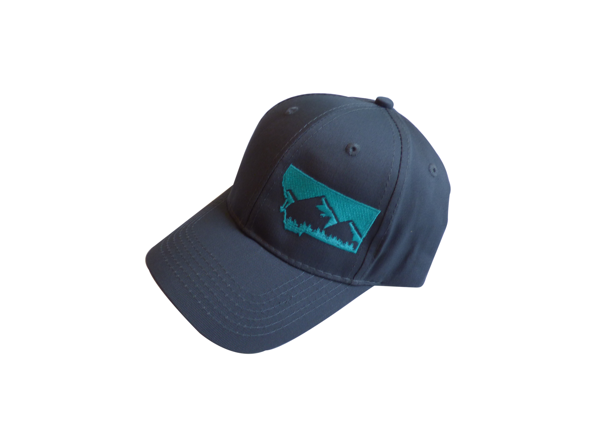 Youth Embroidered Grey with Teal Mountain Hat