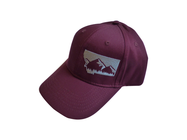 Youth Embroidered Maroon with Grey Mountain Hat