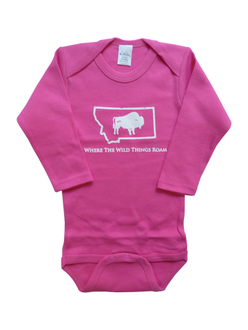 Long Sleeve Pink Bison Onesie