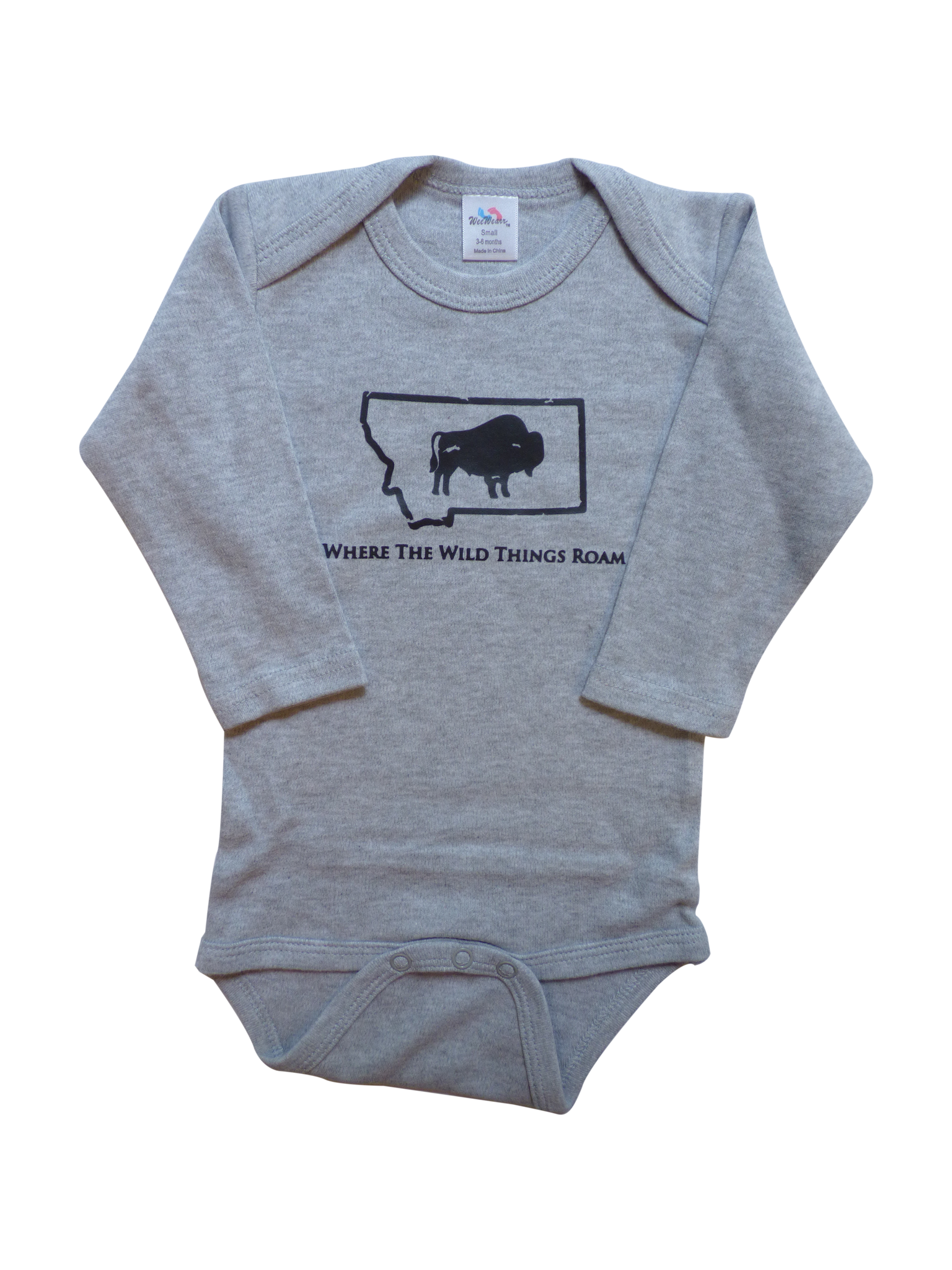Long Sleeve Grey Bison Onesie