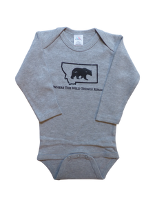 Long Sleeve Grey Bear Onesie