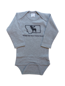 Long Sleeve Grey Moose Onesie