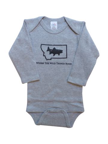 Long Sleeve Grey Fish Onesie