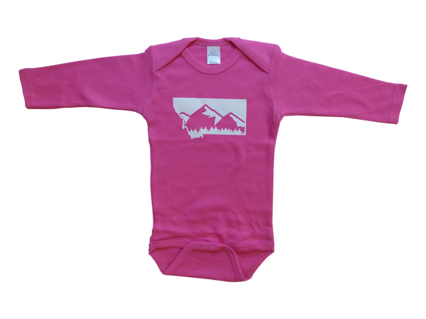 Long Sleeve Pink Montana Mountain Onesie