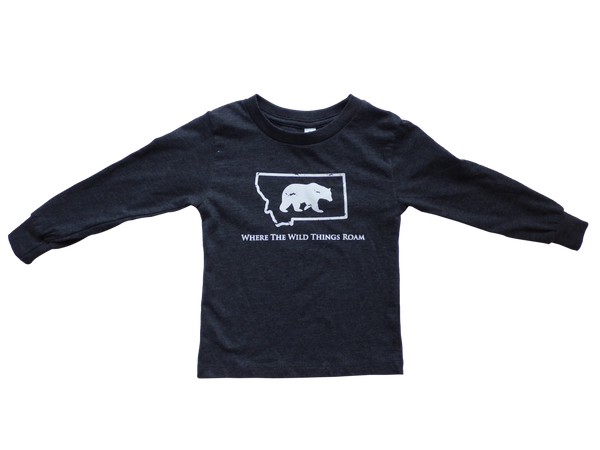 Youth Long Sleeve Charcoal Wild Bear Shirt