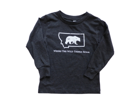 Long Sleeve Charcoal Grey Wild Bear Toddler Shirt