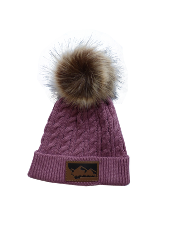 Adult/Child Mauve Pom Pom Hat