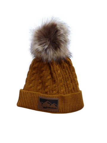 Child Mustard Montana Mountain Pom Pom Hat