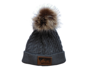 Adult/Child Grey Pom Pom Hat