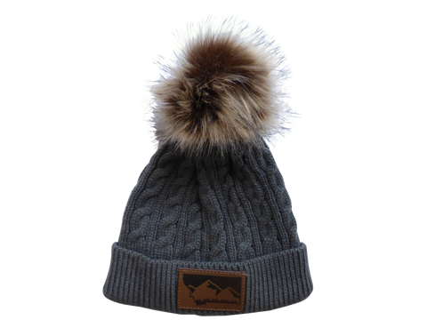 Child Grey Montana Mountain Pom Pom Hat