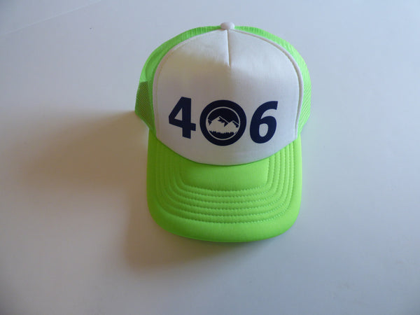 CLEARANCE Adult Neon Green and Navy 406 Hat