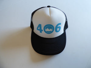 CLEARANCE Youth Black and Aqua 406 Hat