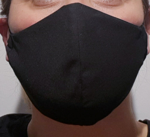Triple layer fabric face mask - Black