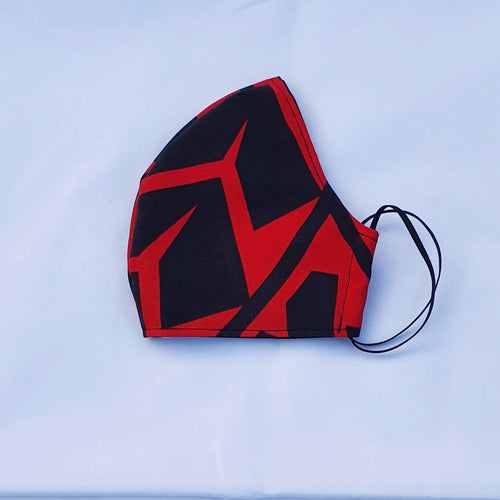 Triple layer fabric face mask - Red Print