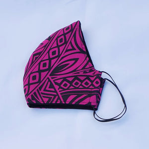 Triple layer fabric face mask - Cerise print